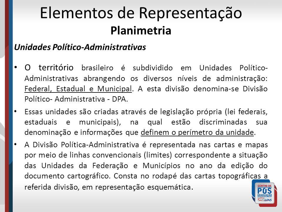 Elementos de Representação Planimetria Unidades Político-Administrativas O território brasileiro é subdividido em Unidades Político- Administrativas a
