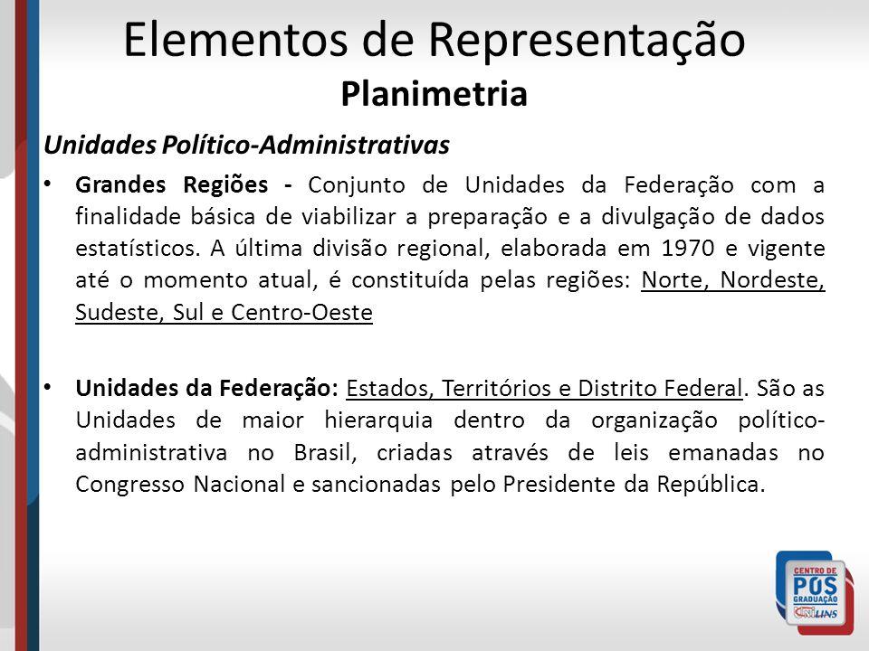 Elementos de Representação Planimetria Unidades Político-Administrativas Grandes Regiões - Conjunto de Unidades da Federação com a finalidade básica d