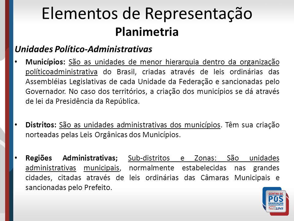 Elementos de Representação Planimetria Unidades Político-Administrativas Municípios: São as unidades de menor hierarquia dentro da organização polític