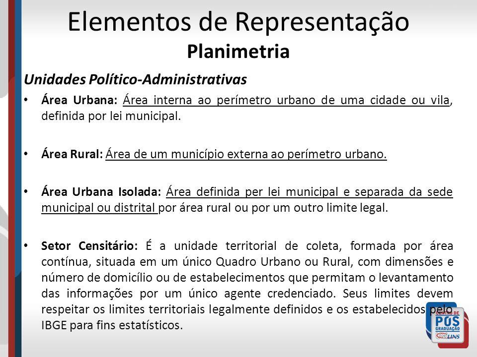 Elementos de Representação Planimetria Unidades Político-Administrativas Área Urbana: Área interna ao perímetro urbano de uma cidade ou vila, definida