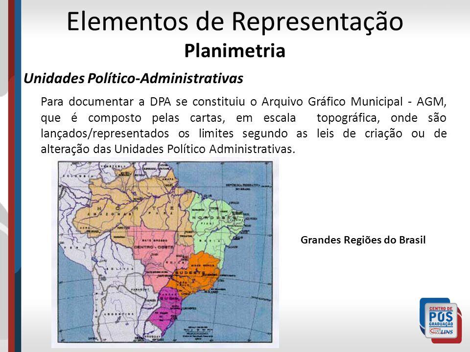 Elementos de Representação Planimetria Unidades Político-Administrativas Para documentar a DPA se constituiu o Arquivo Gráfico Municipal - AGM, que é