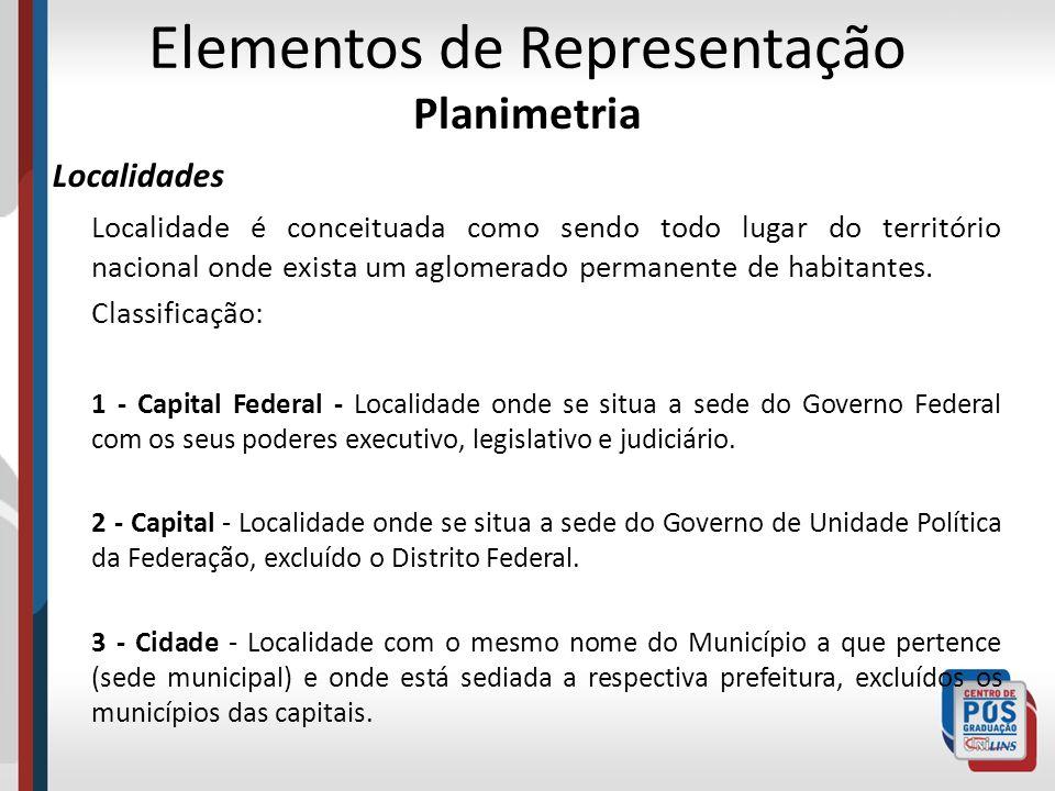 Elementos de Representação Planimetria Localidades Localidade é conceituada como sendo todo lugar do território nacional onde exista um aglomerado per
