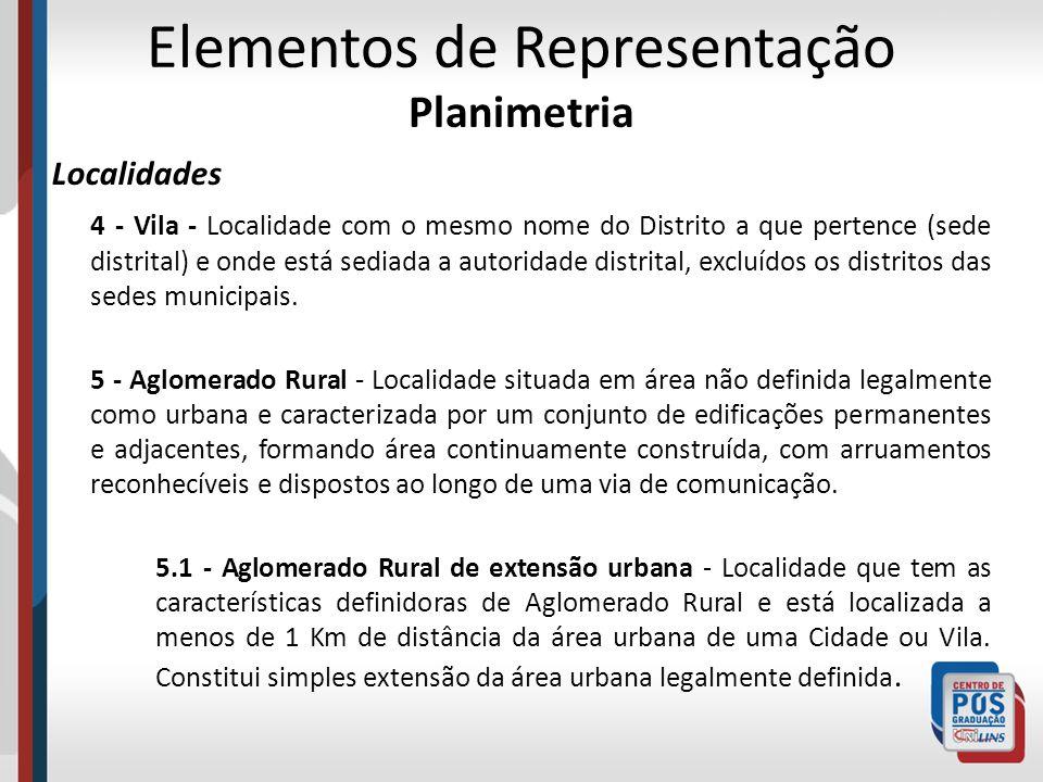 Elementos de Representação Planimetria Localidades 4 - Vila - Localidade com o mesmo nome do Distrito a que pertence (sede distrital) e onde está sedi