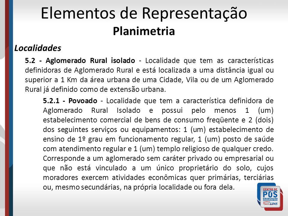 Elementos de Representação Planimetria Localidades 5.2 - Aglomerado Rural isolado - Localidade que tem as características definidoras de Aglomerado Ru