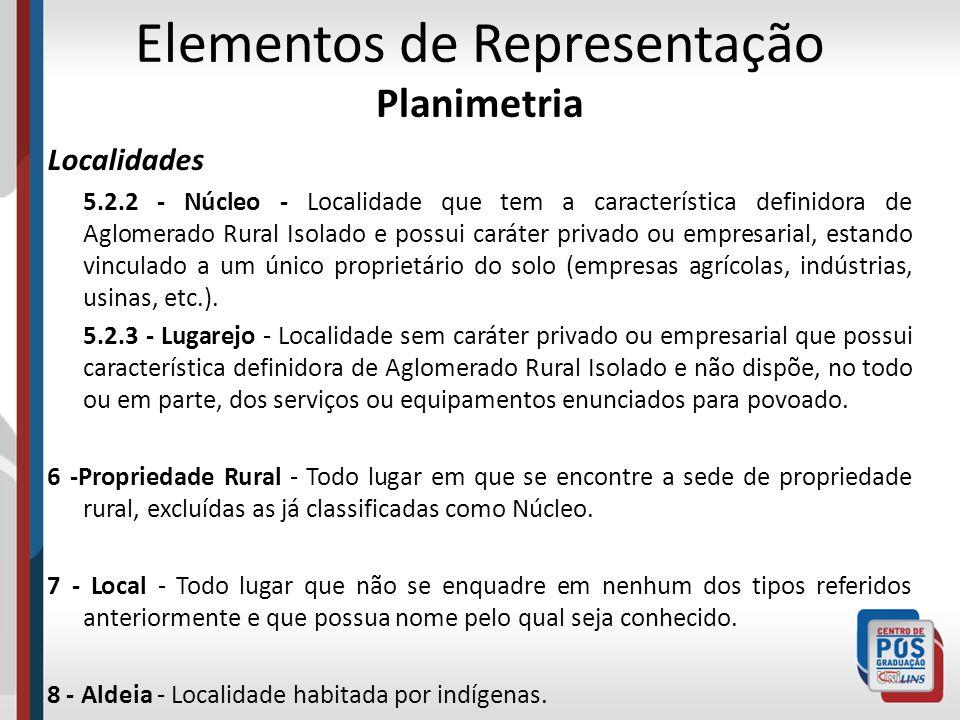 Elementos de Representação Planimetria Localidades 5.2.2 - Núcleo - Localidade que tem a característica definidora de Aglomerado Rural Isolado e possu