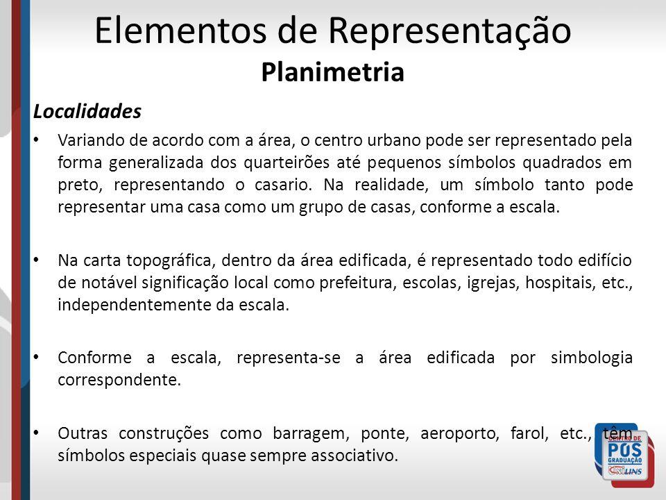 Elementos de Representação Planimetria Localidades Variando de acordo com a área, o centro urbano pode ser representado pela forma generalizada dos qu