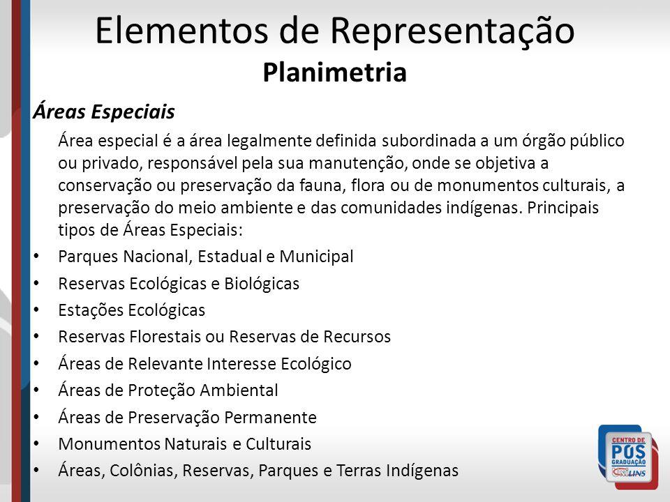 Elementos de Representação Planimetria Áreas Especiais Área especial é a área legalmente definida subordinada a um órgão público ou privado, responsáv