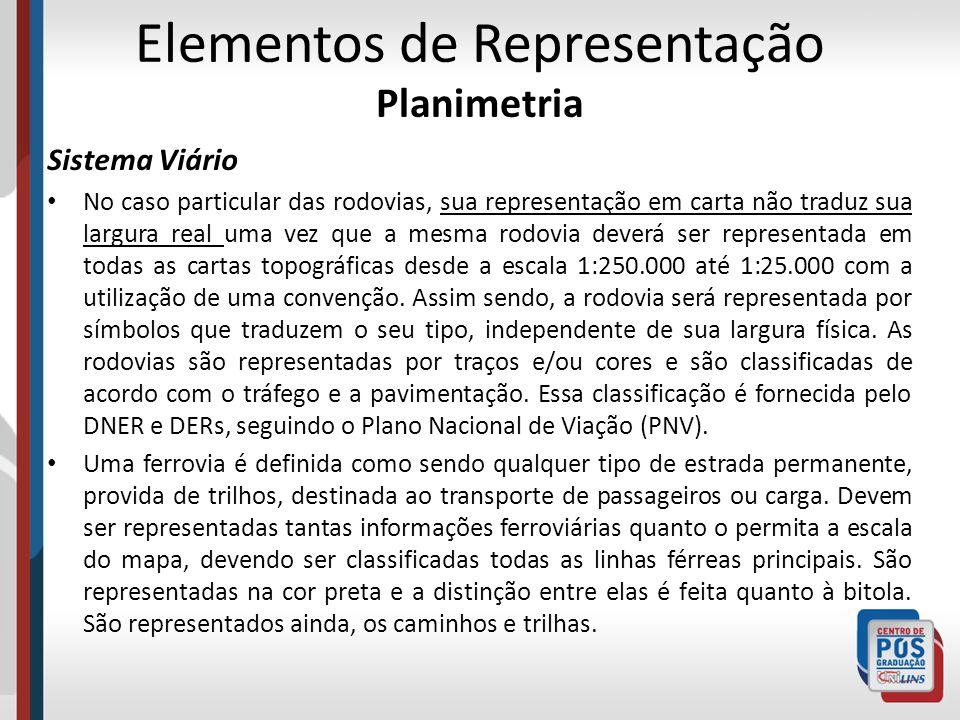 Elementos de Representação Planimetria Sistema Viário No caso particular das rodovias, sua representação em carta não traduz sua largura real uma vez