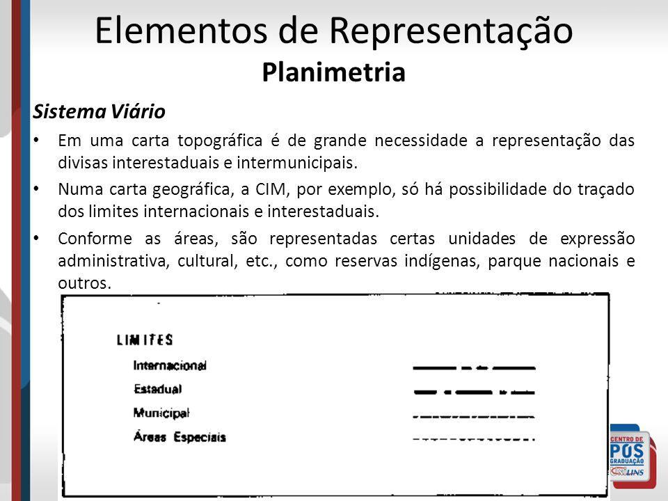Elementos de Representação Planimetria Sistema Viário Em uma carta topográfica é de grande necessidade a representação das divisas interestaduais e in