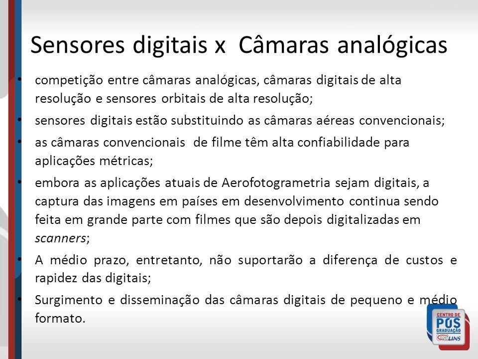 Sensores digitais x Câmaras analógicas competição entre câmaras analógicas, câmaras digitais de alta resolução e sensores orbitais de alta resolução;