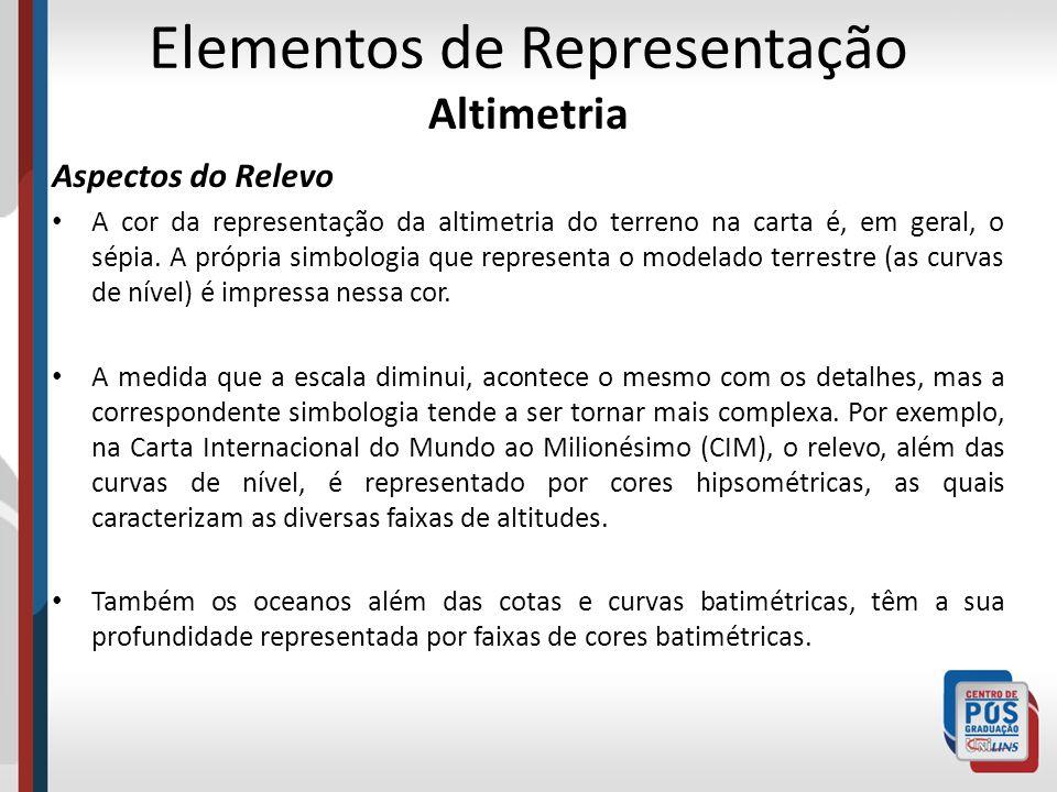 Elementos de Representação Altimetria Aspectos do Relevo A cor da representação da altimetria do terreno na carta é, em geral, o sépia. A própria simb