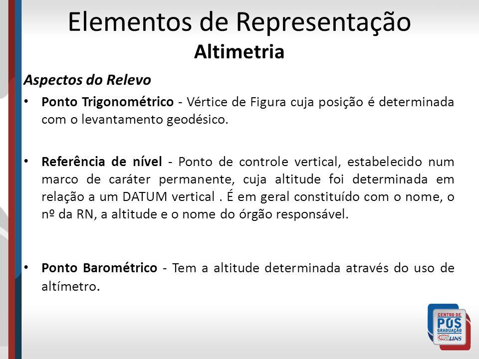 Elementos de Representação Altimetria Aspectos do Relevo Ponto Trigonométrico - Vértice de Figura cuja posição é determinada com o levantamento geodés