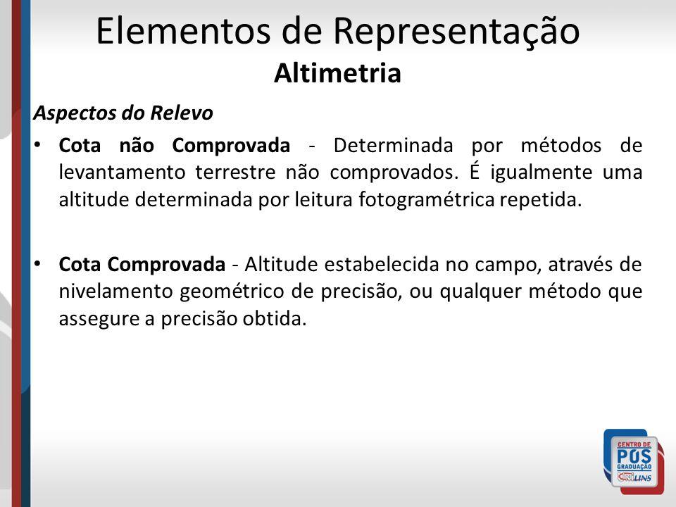 Elementos de Representação Altimetria Aspectos do Relevo Cota não Comprovada - Determinada por métodos de levantamento terrestre não comprovados. É ig