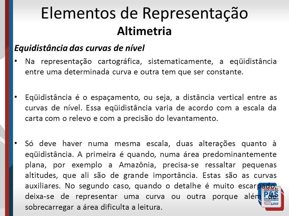 Elementos de Representação Altimetria Equidistância das curvas de nível Na representação cartográfica, sistematicamente, a eqüidistância entre uma det