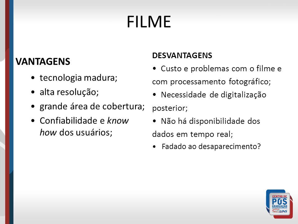 FILME VANTAGENS tecnologia madura; alta resolução; grande área de cobertura; Confiabilidade e know how dos usuários; DESVANTAGENS Custo e problemas co