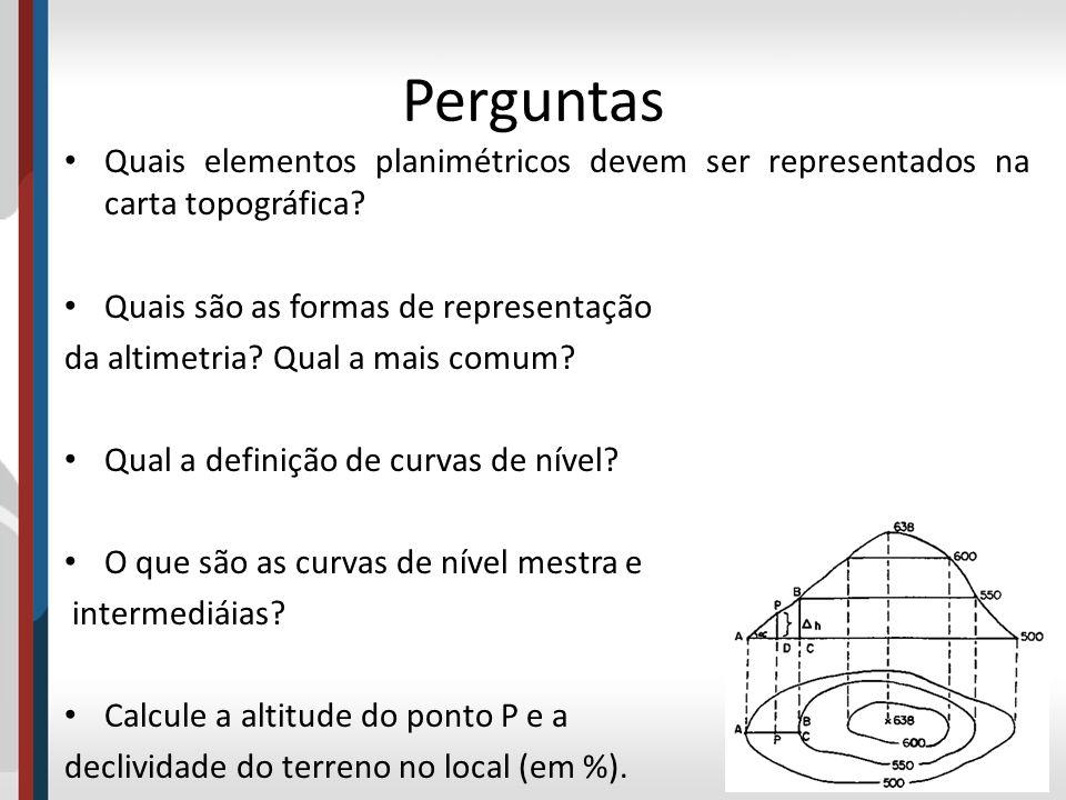 Perguntas Quais elementos planimétricos devem ser representados na carta topográfica? Quais são as formas de representação da altimetria? Qual a mais