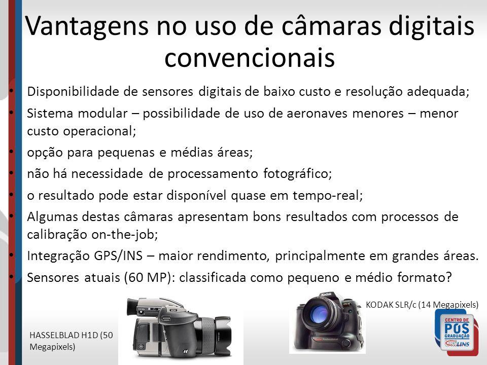 Vantagens no uso de câmaras digitais convencionais Disponibilidade de sensores digitais de baixo custo e resolução adequada; Sistema modular – possibi