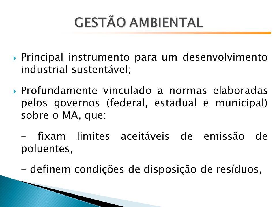 Principal instrumento para um desenvolvimento industrial sustentável; Profundamente vinculado a normas elaboradas pelos governos (federal, estadual e municipal) sobre o MA, que: - fixam limites aceitáveis de emissão de poluentes, - definem condições de disposição de resíduos,