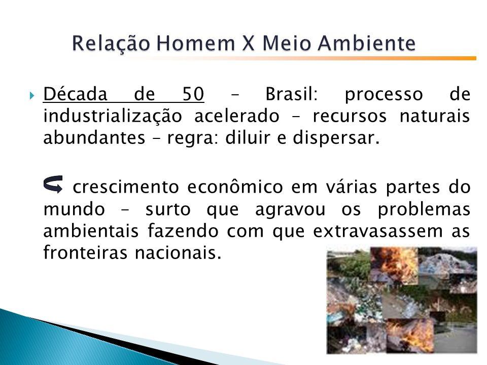 Década de 50 – Brasil: processo de industrialização acelerado – recursos naturais abundantes – regra: diluir e dispersar.
