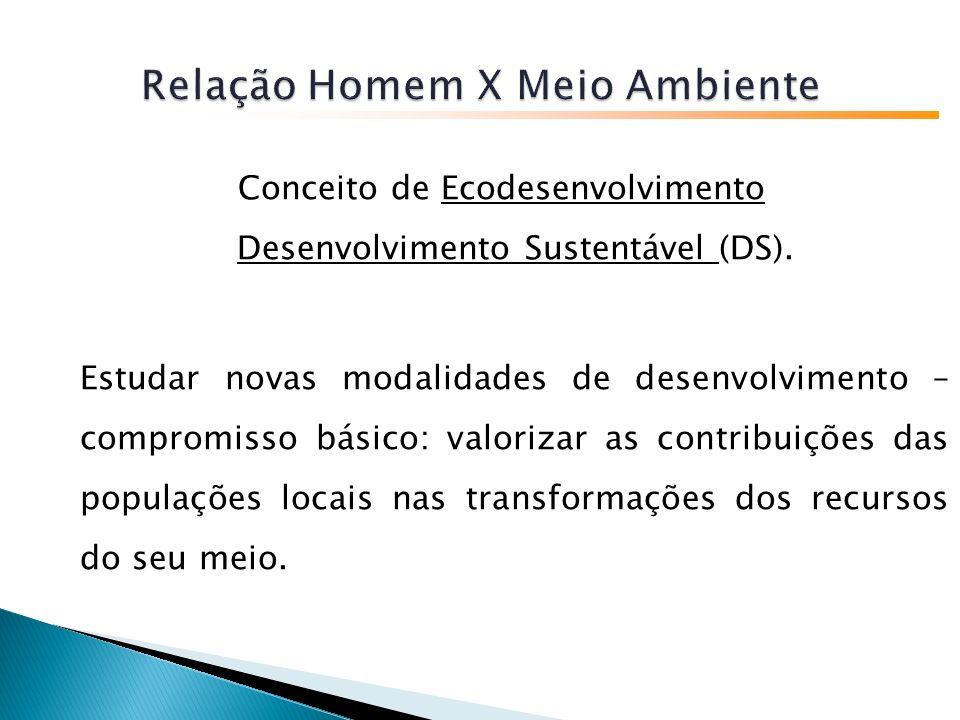Conceito de Ecodesenvolvimento Desenvolvimento Sustentável (DS).