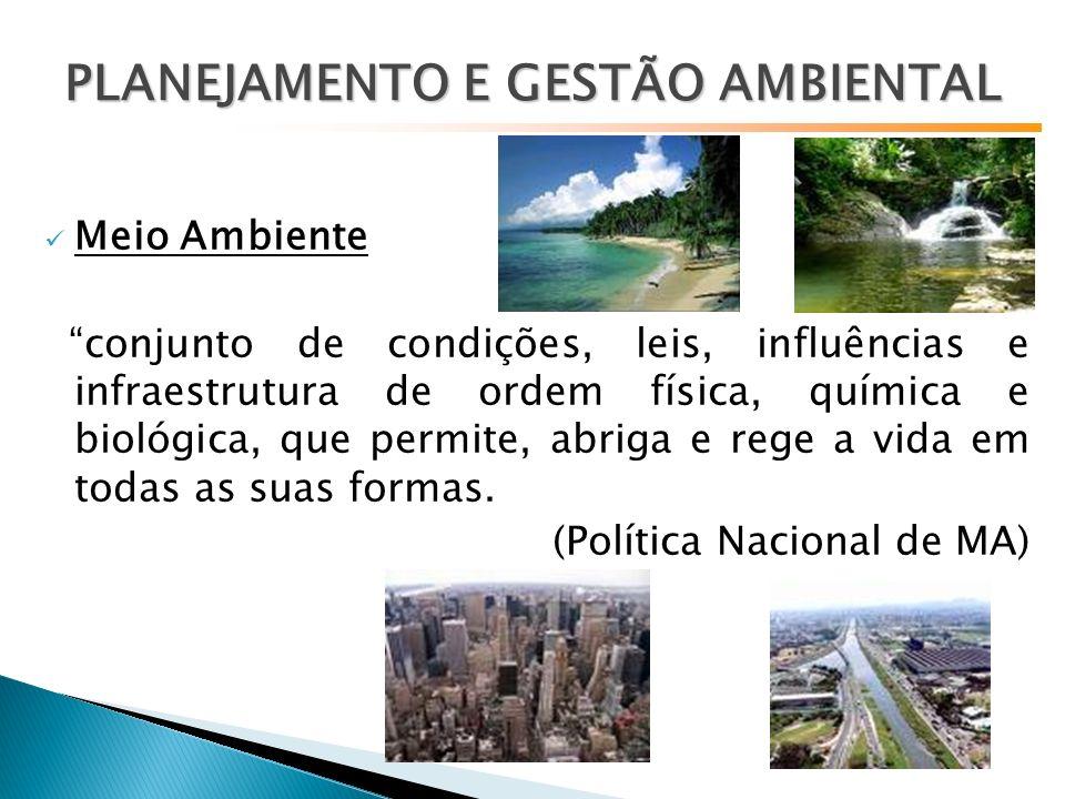 Meio Ambiente conjunto de condições, leis, influências e infraestrutura de ordem física, química e biológica, que permite, abriga e rege a vida em todas as suas formas.