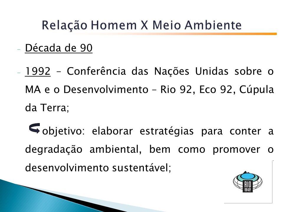 - Década de 90 - 1992 – Conferência das Nações Unidas sobre o MA e o Desenvolvimento – Rio 92, Eco 92, Cúpula da Terra; objetivo: elaborar estratégias para conter a degradação ambiental, bem como promover o desenvolvimento sustentável;