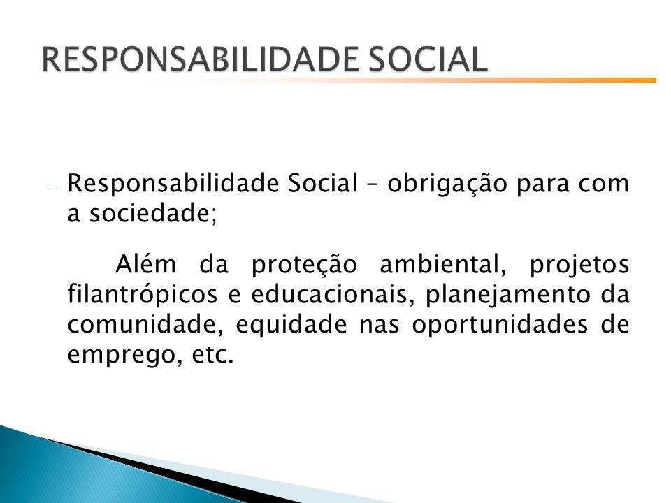 - Responsabilidade Social – obrigação para com a sociedade; Além da proteção ambiental, projetos filantrópicos e educacionais, planejamento da comunidade, equidade nas oportunidades de emprego, etc.
