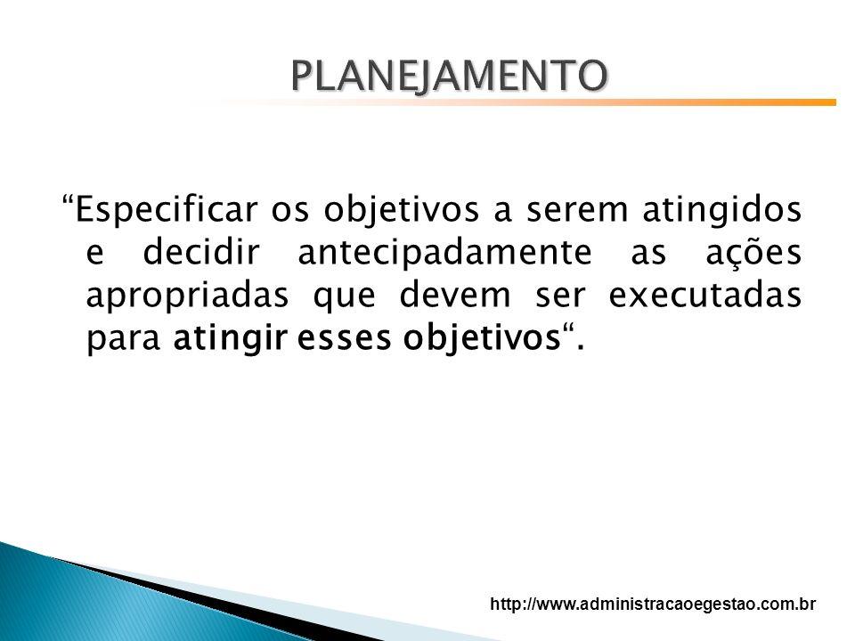 Especificar os objetivos a serem atingidos e decidir antecipadamente as ações apropriadas que devem ser executadas para atingir esses objetivos.