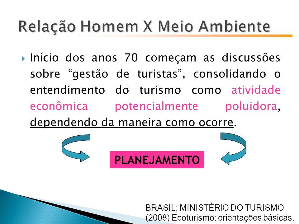 Início dos anos 70 começam as discussões sobre gestão de turistas, consolidando o entendimento do turismo como atividade econômica potencialmente poluidora, dependendo da maneira como ocorre.