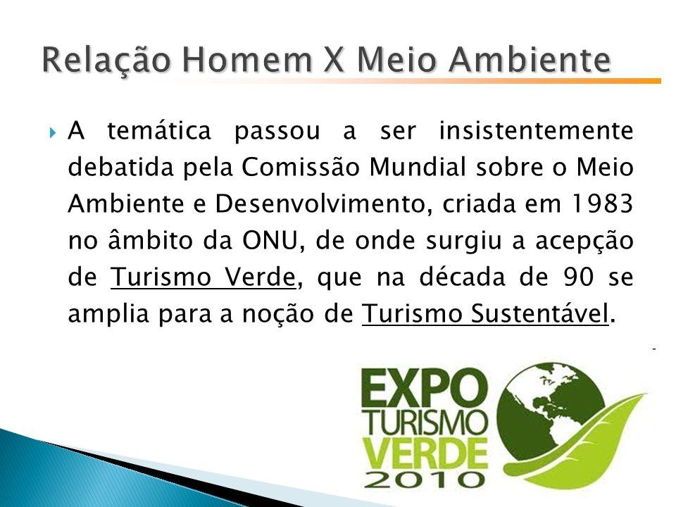 A temática passou a ser insistentemente debatida pela Comissão Mundial sobre o Meio Ambiente e Desenvolvimento, criada em 1983 no âmbito da ONU, de onde surgiu a acepção de Turismo Verde, que na década de 90 se amplia para a noção de Turismo Sustentável.