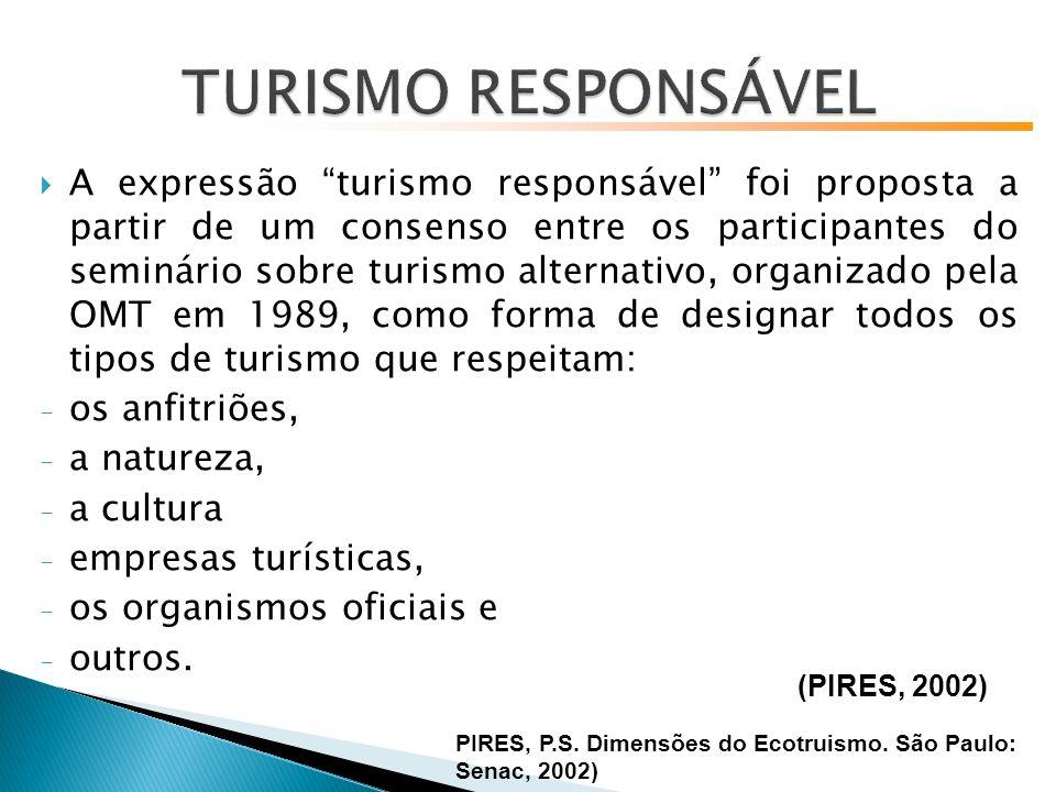 A expressão turismo responsável foi proposta a partir de um consenso entre os participantes do seminário sobre turismo alternativo, organizado pela OMT em 1989, como forma de designar todos os tipos de turismo que respeitam: - os anfitriões, - a natureza, - a cultura - empresas turísticas, - os organismos oficiais e - outros.