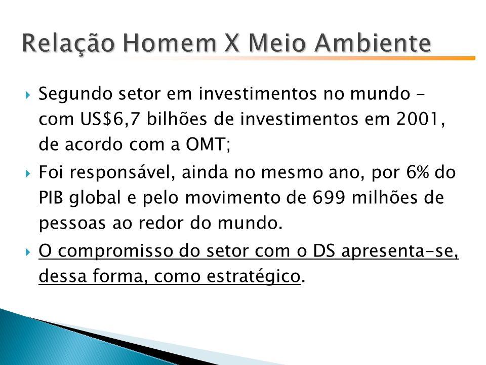 Segundo setor em investimentos no mundo - com US$6,7 bilhões de investimentos em 2001, de acordo com a OMT; Foi responsável, ainda no mesmo ano, por 6% do PIB global e pelo movimento de 699 milhões de pessoas ao redor do mundo.