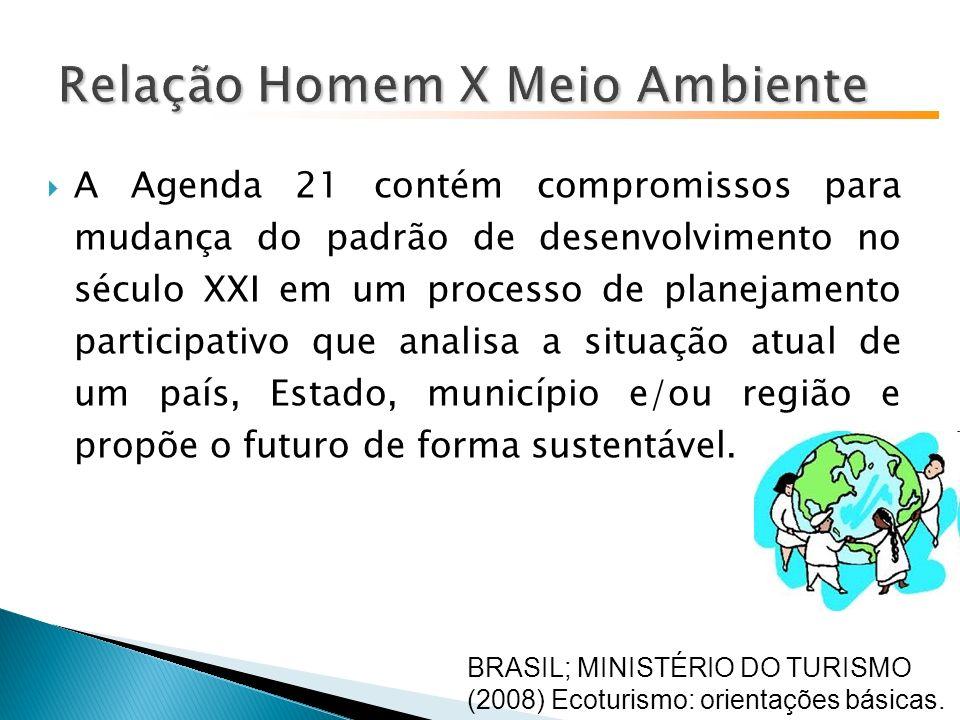 A Agenda 21 contém compromissos para mudança do padrão de desenvolvimento no século XXI em um processo de planejamento participativo que analisa a situação atual de um país, Estado, município e/ou região e propõe o futuro de forma sustentável.