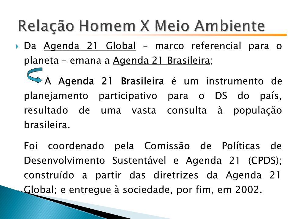 Da Agenda 21 Global – marco referencial para o planeta – emana a Agenda 21 Brasileira; A Agenda 21 Brasileira é um instrumento de planejamento participativo para o DS do país, resultado de uma vasta consulta à população brasileira.