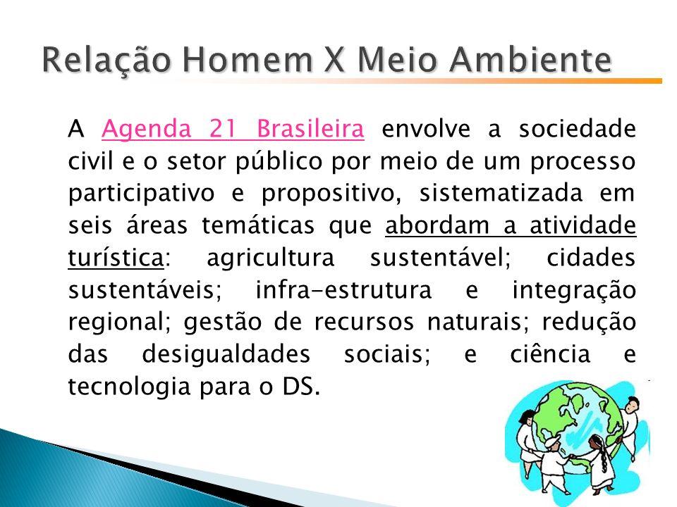 A Agenda 21 Brasileira envolve a sociedade civil e o setor público por meio de um processo participativo e propositivo, sistematizada em seis áreas temáticas que abordam a atividade turística: agricultura sustentável; cidades sustentáveis; infra-estrutura e integração regional; gestão de recursos naturais; redução das desigualdades sociais; e ciência e tecnologia para o DS.