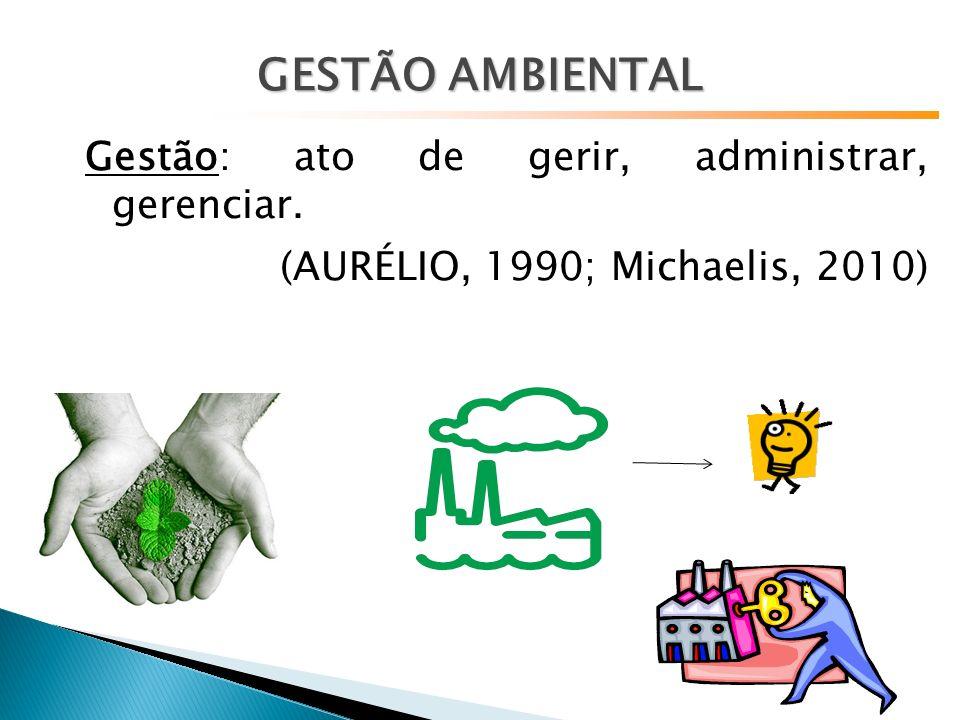 Gestão: ato de gerir, administrar, gerenciar. (AURÉLIO, 1990; Michaelis, 2010) GESTÃO AMBIENTAL