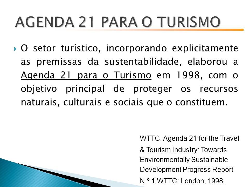O setor turístico, incorporando explicitamente as premissas da sustentabilidade, elaborou a Agenda 21 para o Turismo em 1998, com o objetivo principal de proteger os recursos naturais, culturais e sociais que o constituem.