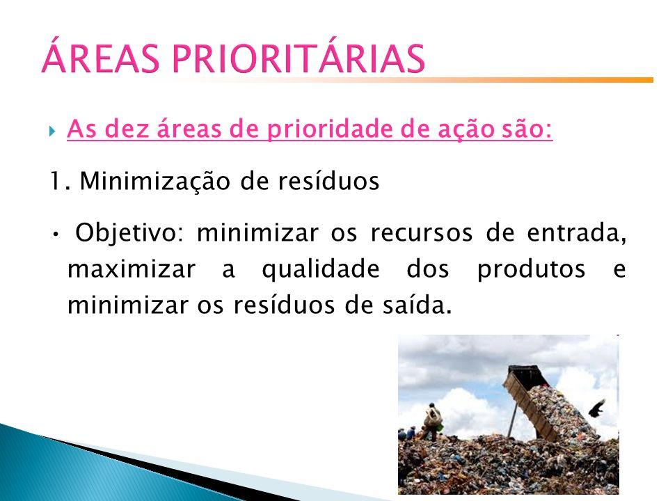 ÁREAS PRIORITÁRIAS As dez áreas de prioridade de ação são: 1.