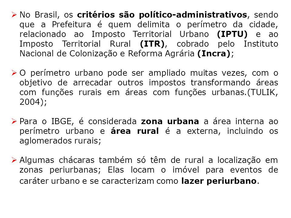 No Brasil, os critérios são político-administrativos, sendo que a Prefeitura é quem delimita o perímetro da cidade, relacionado ao Imposto Territorial
