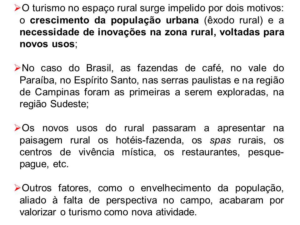 O turismo no espaço rural surge impelido por dois motivos: o crescimento da população urbana (êxodo rural) e a necessidade de inovações na zona rural,