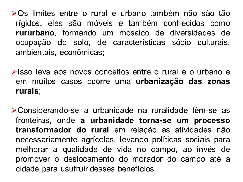 Os limites entre o rural e urbano também não são tão rígidos, eles são móveis e também conhecidos como rururbano, formando um mosaico de diversidades