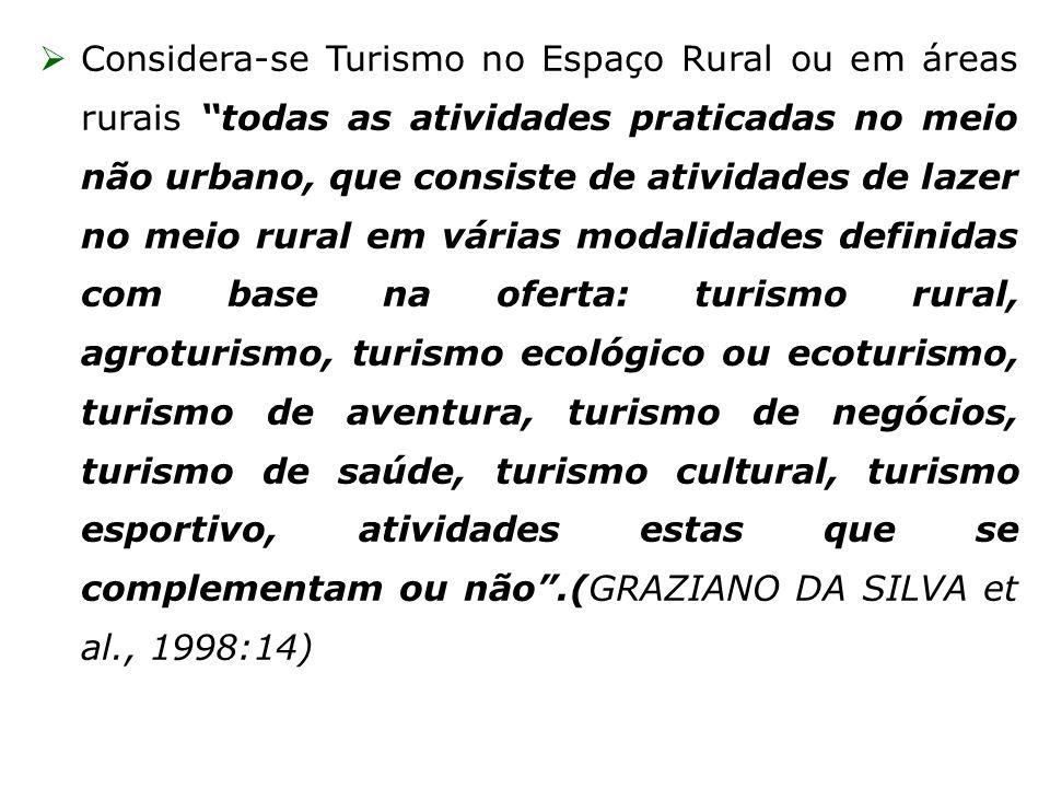 Considera-se Turismo no Espaço Rural ou em áreas rurais todas as atividades praticadas no meio não urbano, que consiste de atividades de lazer no meio