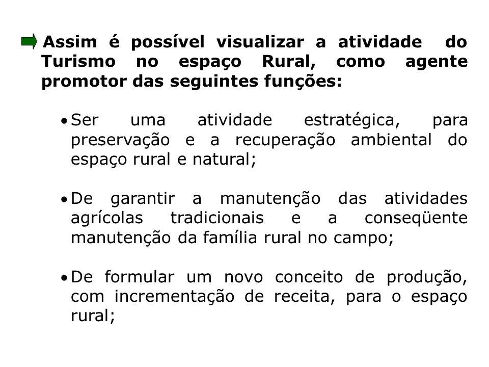 Assim é possível visualizar a atividade do Turismo no espaço Rural, como agente promotor das seguintes funções: Ser uma atividade estratégica, para pr