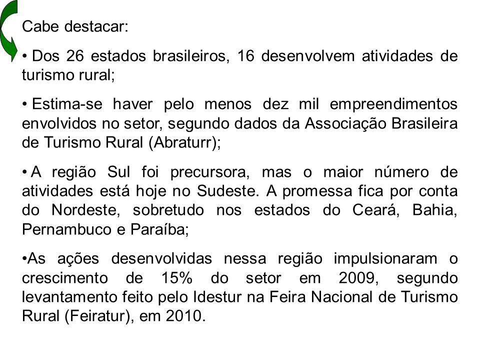 Cabe destacar: Dos 26 estados brasileiros, 16 desenvolvem atividades de turismo rural; Estima-se haver pelo menos dez mil empreendimentos envolvidos n