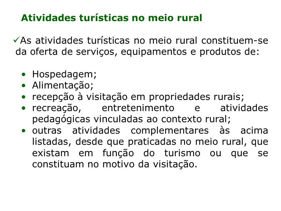 Atividades turísticas no meio rural As atividades turísticas no meio rural constituem-se da oferta de serviços, equipamentos e produtos de: Hospedagem