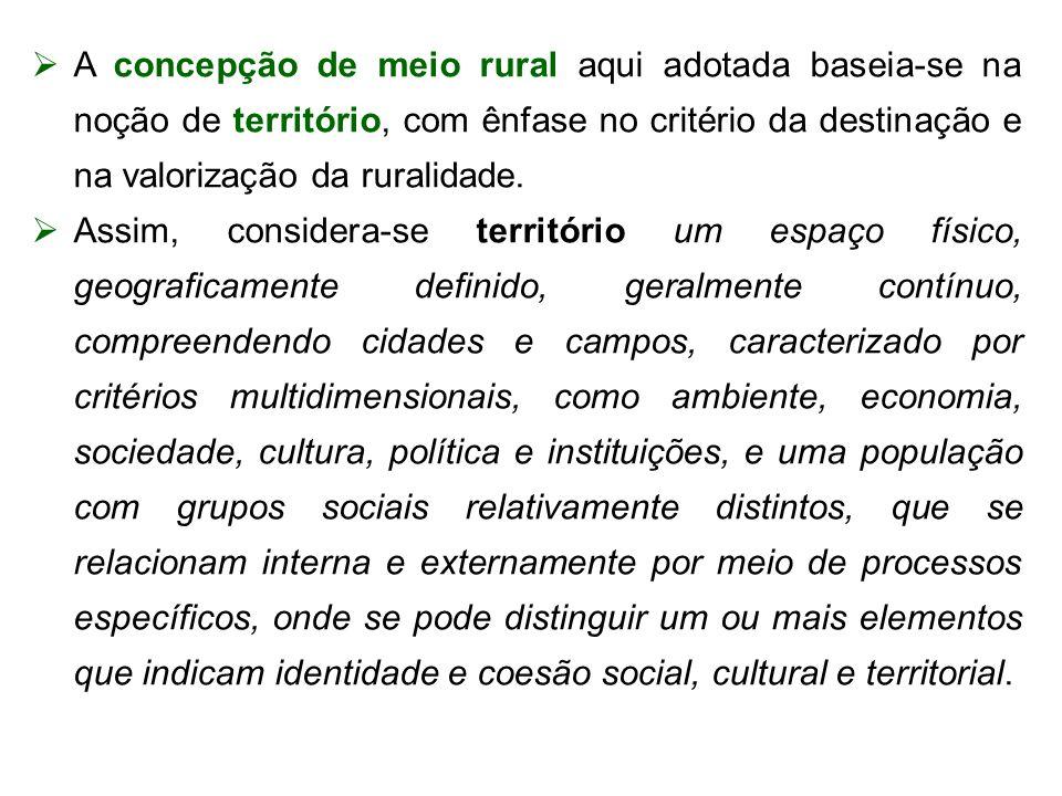 A concepção de meio rural aqui adotada baseia-se na noção de território, com ênfase no critério da destinação e na valorização da ruralidade. Assim, c