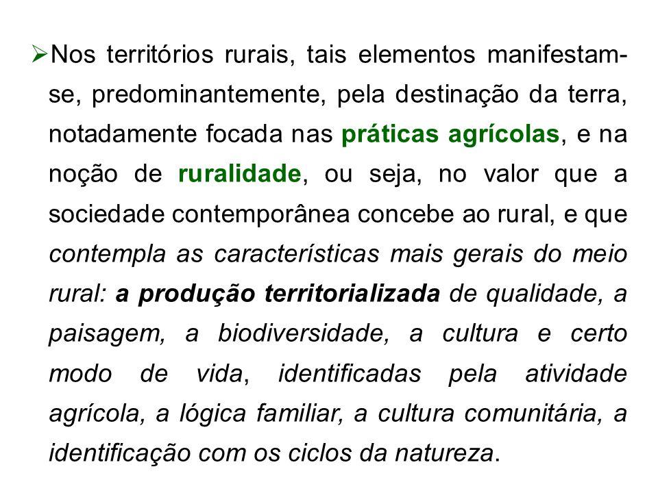 Nos territórios rurais, tais elementos manifestam- se, predominantemente, pela destinação da terra, notadamente focada nas práticas agrícolas, e na no