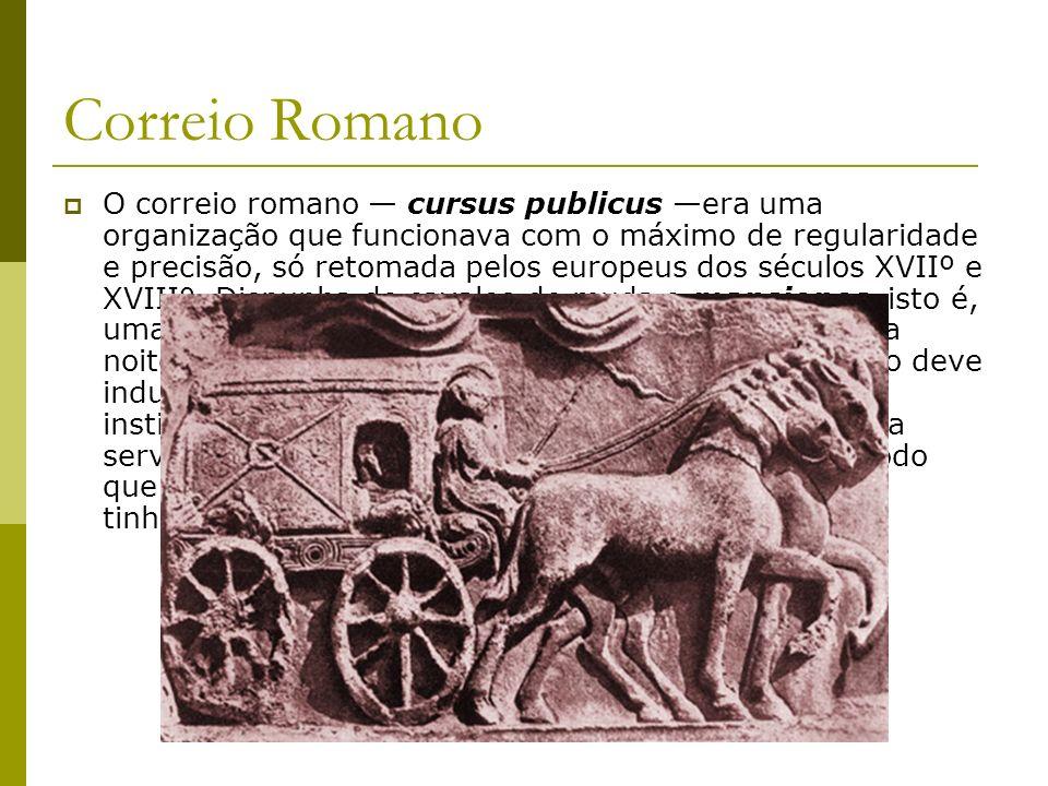 Correio Romano O correio romano cursus publicus era uma organização que funcionava com o máximo de regularidade e precisão, só retomada pelos europeus