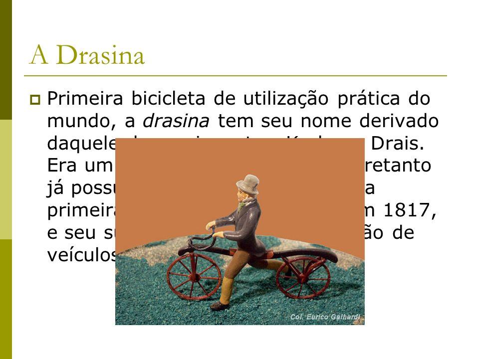 A Drasina Primeira bicicleta de utilização prática do mundo, a drasina tem seu nome derivado daquele de seu inventor, Karl von Drais. Era um veículo p