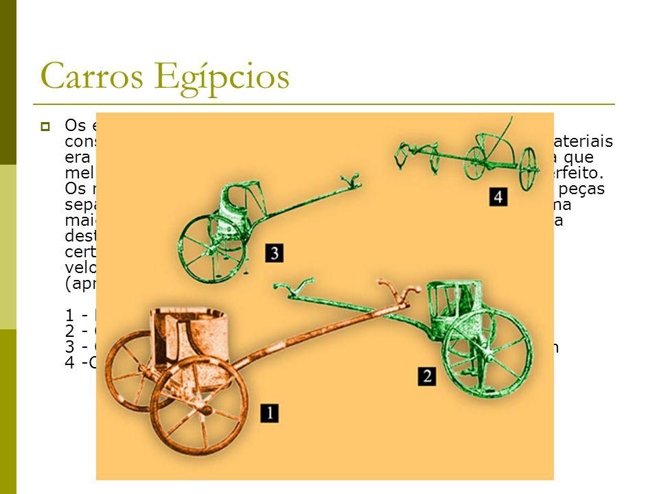 Carros Egípcios Os egípcios tornaram o carro de guerra mais leve, e sua construção tornou-se extremante refinada. A escolha de materiais era cuidadosa